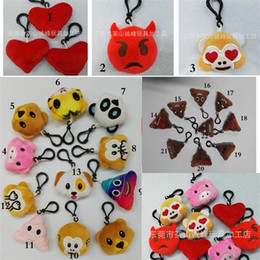 Chinese  22 Designs Monkey Pig pooh Bear dog panda Emoji plush Keychain emoji Stuffed plush toys Emoji Keychains Key Rings manufacturers