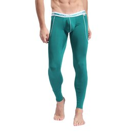 Discount bamboo onesies - Wholesale-2016 Men's Softed Long Johns Thermal Pants Bamboo Fibre Trousers Solid Color Underwear S M L