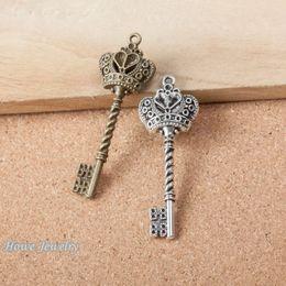 Crown key pendant wholesale online shopping crown key pendant 9pcs vintage charms 3d crown key pendant fit bracelets necklace diy metal jewelry makingd001 aloadofball Images
