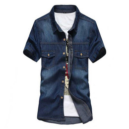 Chemise Habillement Homme Jeans Pas Cher-Vente en gros- Shirt Masculina Men Denim Blue Blouses Chemises New Summer Short Sleeve Casual Men Jeans Chemise Blouses Slim Dress Shirts M-XXXL