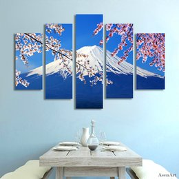 $enCountryForm.capitalKeyWord Canada - 5 Panel Fujiyama Snow Mountain Sakura Japan Landscape Picture Painting Canvas Print Home Decoration Picture for Living Room