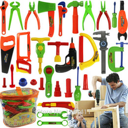 Wholesale- 34pcs Baby educational toys Tool Kit children play house classic plastic toy kids tools hammer toolbox Simulation tool kit toys on Sale