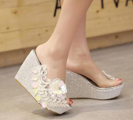 Wedge Leather Sandals Canada - Plus Size 34 To 40 Adorable Sequined Appliques Flower White High Heel Wedges Platform Sandals Slipper