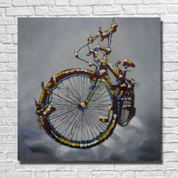 $enCountryForm.capitalKeyWord NZ - Decorative design still life things picture hand painted bicycle oil painting cartoon pictures for living room wall decor