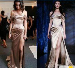$enCountryForm.capitalKeyWord NZ - Nude Stain Split Sexy Evening Dresses 2017 Off Shoulder Elegant Full length Labourjoisie Dubar Arabic Occasion Prom Gown Wear