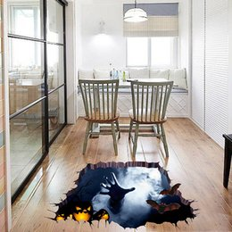 2017 happy halloween decorations halloween 3d broken wall sticker bedroom home floor stickers mural happy halloween - Halloween Decorations On Sale