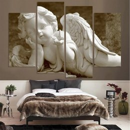 $enCountryForm.capitalKeyWord NZ - New Style 4 Pieces White Angel Baby Bedroom Oil Painting Wall Art Home Decoration Canvas Paintings For Living Room Unframed
