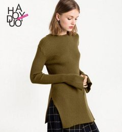 Barato Jumper De Vestido Feminino-Moda Split Kintted Sweater Dress Tops Mulheres Long Sleeve Long Pullover Solid Casual Slim Female Kintted jumper