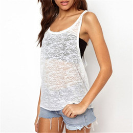 Venta Al Por Mayor Blanca Del Tanque De Las Tapas Blancas Baratos-Wholesale-2016 Women Summer Tank Tops Cami Sexy Hot Sleeveless O Neck Loose Tops más tamaño Negro Blanco Casual suelta Blusa Fitness