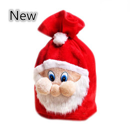 Chinese  Chrismas Gift Bags Backpack Cartoon Santa Gift Wrap Claus Super Soft Sack Christmas Candy Bags drawstring 45*35cm 100PCS LOT B0781 manufacturers