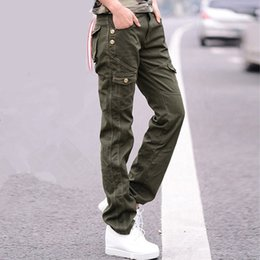 00d566bf442 Women Military Cotton Cargo Pants Ladies Casual Winter Loose Trousers Army  Green Plus Size Camouflage Pants Females Black