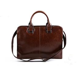 Mens Soft Leather Briefcase Canada - Wholesale- Brand Leather Mens Briefcase Laptop Bags Men's Travel Bag Soft Men Shoulder Bags Business Man Handbag bolsa