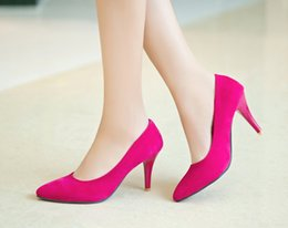 Mid Heels Wedding Shoes Canada - Classic Sexy Pointed Toe mid High Heels Women Pumps Shoes Wedding shoes