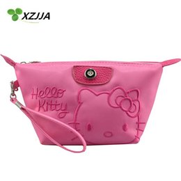 e396967c77 Wholesale- Hello Kitty Cosmetic Bag Zipper Makeup Case Travelling Wash Bag  Portable Toiletry Bags Kawaii Cartoon Coin Purse Storage Bag