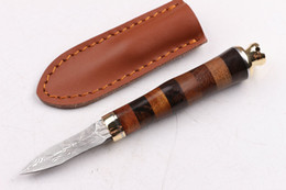 High End Damascus Folding Knives Canada - Drop shipping High End Pure hand made Damascus Tea knife fixed blade knives Ebony handle Collectable knife with leather sheath