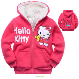 Manteau Chandail Hiver Enfant Fille Pas Cher-Vente en gros - 2016 Baby Girls Vêtements d'extérieur pour enfants Hello Kitty Coat Epicéa Lamb Flocking Sweater Hooded Winter Sportswear Kids Hoody Jacket