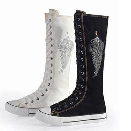 $enCountryForm.capitalKeyWord Canada - 2016 new fashion women knee high boots shoes woman botas mujer invierno womens ladies canvas lace up flat rhinestone dance plus size 41 42