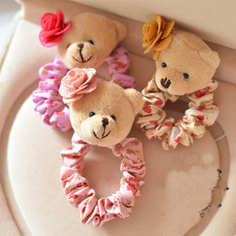 Hair Camellia Canada - 6pcs lot high quality fashion brand cute teddy bear camellia lace band hair rope for women children hair jewelry accessories elastic rubber