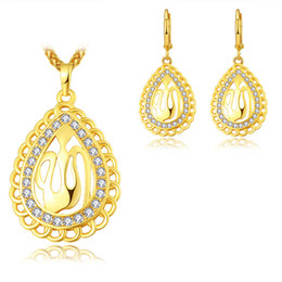 platinum anniversary jewelry UK - Plated 18K gold   platinum necklace jewelry set Islamic jewelry fashion ladies men gifts wholesale diamond necklace and pendant earring Set