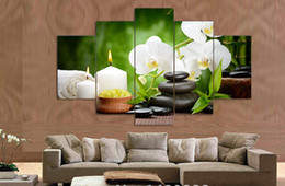 $enCountryForm.capitalKeyWord Australia - 5 panel wall art oil painting stone white flower candels home decoration canvas prints pictures for living room framed art F 518
