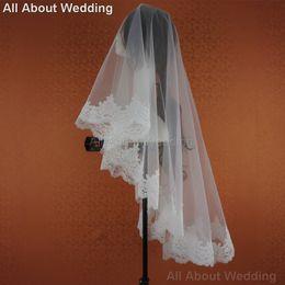 Hair Netting Wedding Canada - Romantic Alencon Lace Bridal Veil 150cm Wedding Hair Accessory Bridal Cover 2016 New Style Real Photo Epacket Free Shipping