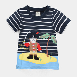 pirates t shirts wholesale Canada - Pirate Fashion boy clothes top garment children stripe t-shirts character kids clothes summer sleeved tees 240pcs lot