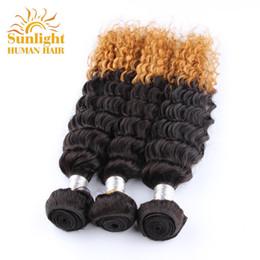 Peruvian Deep Curly Wavy Hair Canada - Brazilian Virgin Hair Curly 3 Bundles Deals Ombre Brazilian Curly Deep Wave Brazilian Hair Weave Bundles Wet And Wavy Remy Human Hair Weaves