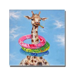Funny Picture Animal Canada - Funny Deer Oil Painting Pictures on Canvas Home Decor Sitting Room Wall Pictures Animal Canvas Painting 1 Peices No framed