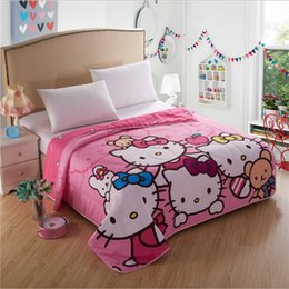 $enCountryForm.capitalKeyWord Canada - Happy Hello Kitty Family Thin Quilt Home Textile, Summer Quilts for Children Kids Gift Washable Polyester Air-conditioning Cartoon Blanket