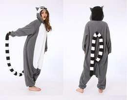 Monkey Halloween Costumes Canada - SS Novelty Animal Lemur Long Tail Monkey jumpsuit Adult Onesie Unisex Women Men's Pajamas Halloween Christmas Party Costumes