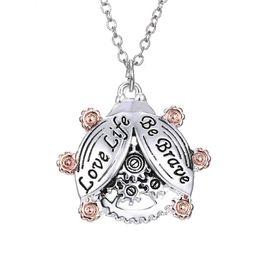 Beetle Pendant UK - 2016 Steampunk Pendant Necklace Gears letter love life Be brave necklace Women Men Lover Jewelry Mechanical beetle necklaces