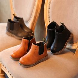 Опт Детские осенние мальчиков оксфорд обувь для детей платье девушки сапоги мода Мартин сапоги малыша ПУ кожаные сапоги черный коричневый серый EU21-30