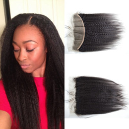 Discount italian yaki lace closure - Mongolian hair lace frontal closure kinky straight 13x4 with free part bleached knots virgin coarse italian yaki lace fr