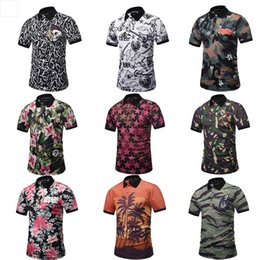 polo men sport shirt Canada - European American Style Men 3D Digital Printing Camouflage Flowers Polo Short Sleeve Shirt Lapel Male Sport T-shirt