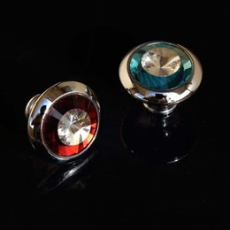 Crystal Pull Cabinet Handles Canada - 33mm diamond head drawer shoe cabinet knobs pulls blue red clear glass crystal dresser cupboard door handles knobs shiny chrome