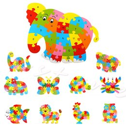 Discount baby alphabet learning Wholesale-Kids Baby Wooden Animal Puzzle Numbers Alphabet Jigsaw Learning Educational Toy Freeshipping