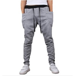 wholesale boys sweatpants UK - Wholesale-Mens Joggers New Style Fashion 2016 Casual Skinny Joggers Sweatpants Drop Crotch Jogging Harem Pants Men Boys Joggers Sarouel