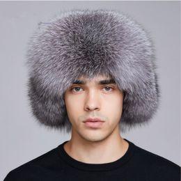00f8630952fb9c LUCKYFUR winter hat earflap men real fox fur hats men russian ushanka fur  protect ear warm enough rus kalpak bomber hat FXM17505