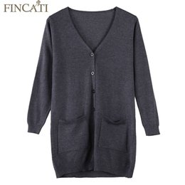 Cachemire Blend Cardigans Pas Cher-Vente en gros - Femmes Pull Cardigan en laine Cachemire Blend 2017 Printemps Mode Double Poches Unique Breasted V Cou Long Chandails Manteau