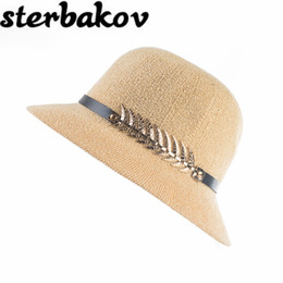 Wholesale- 2017Lady Boater sun caps Ribbon Round Flat Top Straw Fedora  Panama Hat summer hats for women straw hat snapback gorras 3091e6c889ed