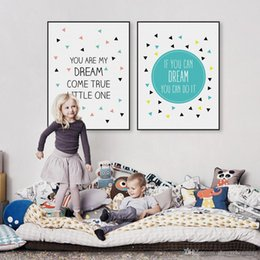 Baby Posters Canada - Modern Nordic Typography Dream Quote A4 Canvas Art Print Poster Nursery Wall Picture Home Kids Baby Room Decor Painting No Frame