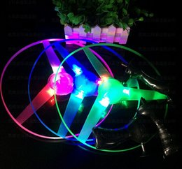 Discount wholesale toy flying ufo - Flash PULL Luminous Flying Saucer 25cm 3pcs Led Light UFO Children Flying Toys 65g 10pcs lot + Free Shipping