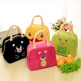 Discount lunch bags for kids - 6 Styles New Portable Cartoon Cute Lunch Bag Insulated Cold Canvas Picnic Totes Carry Case For Kids Women Thermal Bags