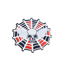 $enCountryForm.capitalKeyWord UK - Spider Skull Motor Patches for Clothing Iron on Transfer Applique Patch for Jacket Jeans DIY Sew on Embroidered Badge 1pcs