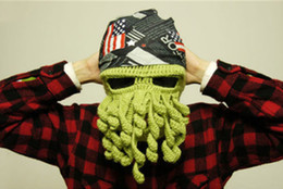 wholesale crochet hats for adults NZ - Multicolor Handmade Crochet Octopus wool hat Knit Beanie Whiskers Hat Ski Mask Octopus Cap Funny Hat Christmas Hat for teenage and adult
