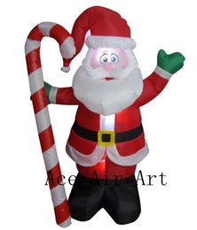 christmas decorations candy cane UK - Christmas Inflatable Santa Claus with Candy Cane Indoor Outdoor Yard Decoration