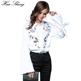 $enCountryForm.capitalKeyWord NZ - Hua Shang Fall Fashion Cotton Linen Women Long Sleeve White Shirt Embroidery Floral Lace Up Tie Flare Sleeve Female Shirt Blouse