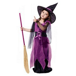 Tenues De Cosplay Pour Les Filles Pas Cher-2017 Hot Toddler Kids Baby Girls Halloween Cosplay Witch Clothes Costume Dress Robes de soirée + Hat Outfit For Children # 809