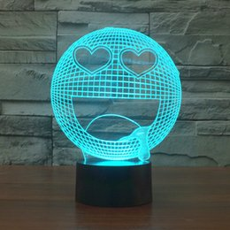 figure emotions NZ - 2017 drooling emotion 3D Optical Lamp Night Light 9 LEDs Night Light DC 5V Colorful 3D Lamp