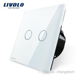 Ingrosso Trasporto libero, pannello dell'interruttore di cristallo di cristallo bianco, norma europea, VL-C702-11, interruttore del touch screen della luce della parete di Livolo CA 110 ~ 250V